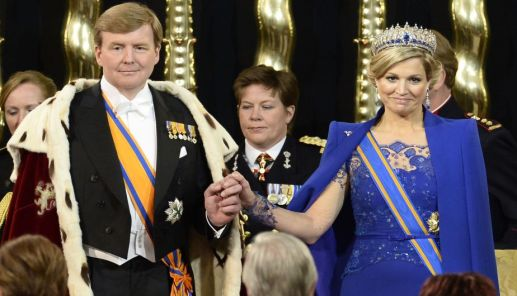 Dutch King Willem-Alexander, Queen Maxima and members of the royal household during the inauguration for King Willem-Alexander of the Netherlands at Nieuwe Kerk (New Church) in Amsterdam on April 30, 2013. AFP PHOTO/ POOL/LEX VAN LIESHOUT