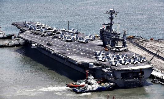 USS George Washington in South Korea...epa04310534 A view of the USS George Washington aircraft carrier (CVN-73) in Busan, South Korea, 11 July 2014. USS George Washington arrived in South Korea on 11 July as part of a planned visit.  EPA/JEON HEON-KYUN