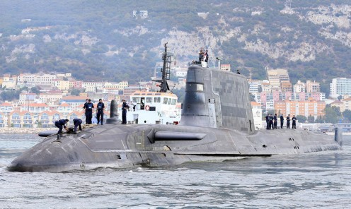 HMS Ambush arrives at HMNB Gibraltar.
