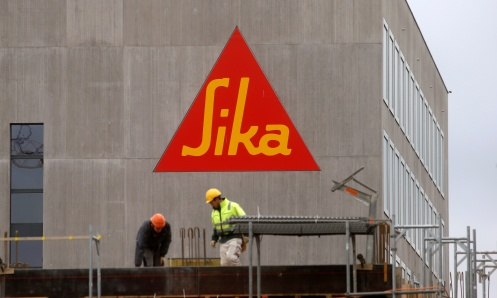 Logo of Swiss chemicals group Sika on an office building in Zurich