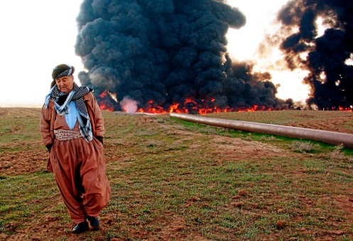 Iraqi oil pipeline burns after explosion northwest of northern city of Kirkuk.