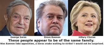 """""""Soros es el jefe de Bannon. George Soros y Steve Bannon son amigos, comparten muchos amigos, y manejan el mismo elenco de partidos aparentemente enfrentados. Steve Bannon: Israel First, America Second""""."""